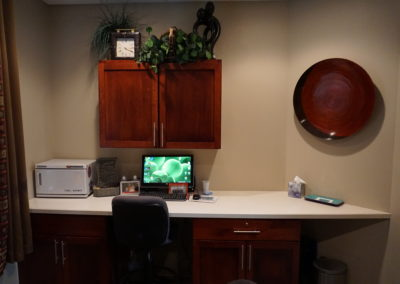 Desk in the licensed massage therapist room at the Bakeris Family Chiropractic in Coralville, Iowa