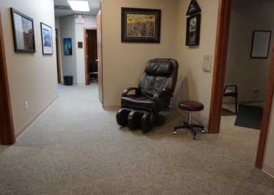 Massage chair at Bakeris Family Chiropractic in Coralville, Iowa